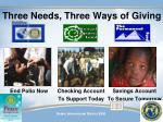 three needs three ways of giving