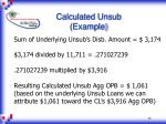 calculated unsub example