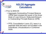 nslds aggregate calculations