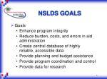 nslds goals