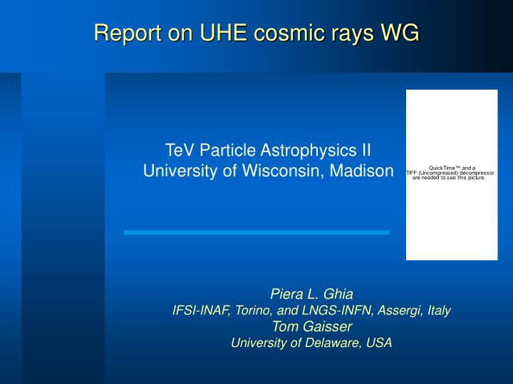report on uhe cosmic rays wg n.