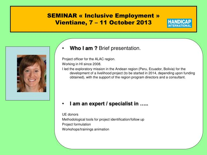 seminar inclusive employment vientiane 7 11 october 2013 n.