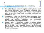 burzovn informace indexy