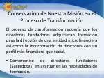 conservaci n de nuestra misi n en el proceso de transformaci n