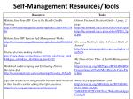 self management resources tools