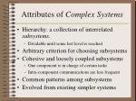 attributes of complex systems