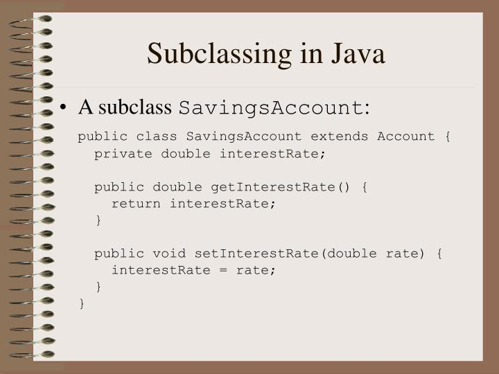 Subclassing in Java