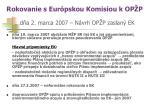 rokovanie s eur pskou komisiou k op p