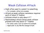 weak collision attack