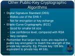 other public key cryptographic algorithms
