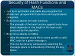 security of hash functions and macs