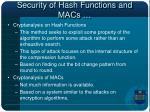 security of hash functions and macs1