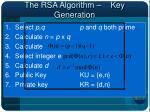 the rsa algorithm key generation