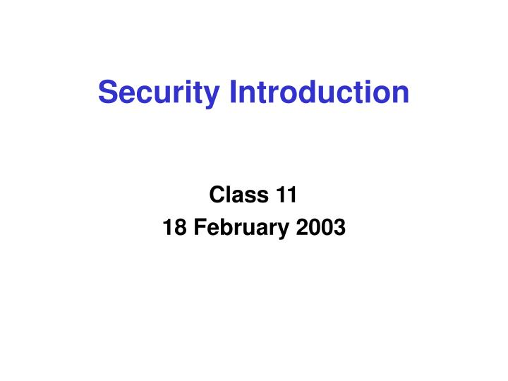 security introduction n.