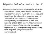 migration before accession to the ue