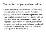 the context of percept inequalities