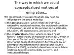 the way in which we could conceptualized motives of emigration