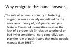 why emigrate the banal answer