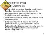 projected pro forma financial statements