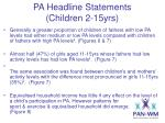 pa headline statements children 2 15yrs3