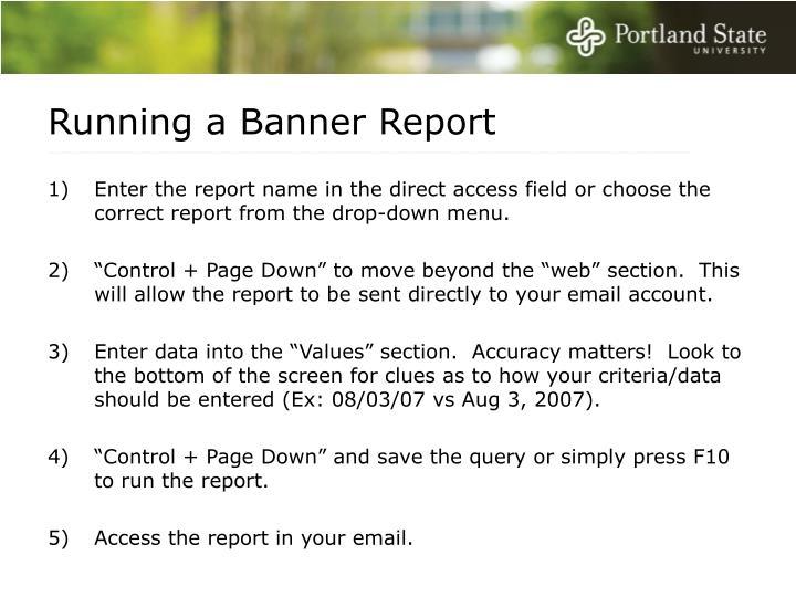 Running a Banner Report