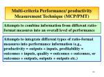 multi criteria performance productivity measurement technique mcp pmt