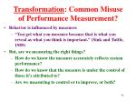 transformation common misuse of performance measurement1