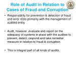 role of audit in relation to cases of fraud and corruption