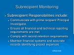 subrecipient monitoring11