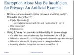 encryption alone may be insufficient for privacy an artificial example