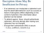 encryption alone may be insufficient for privacy
