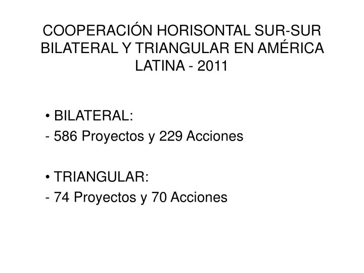 cooperaci n horisontal sur sur bilateral y triangular en am rica latina 2011 n.
