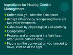 ingredients for healthy conflict management