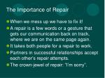 the importance of repair
