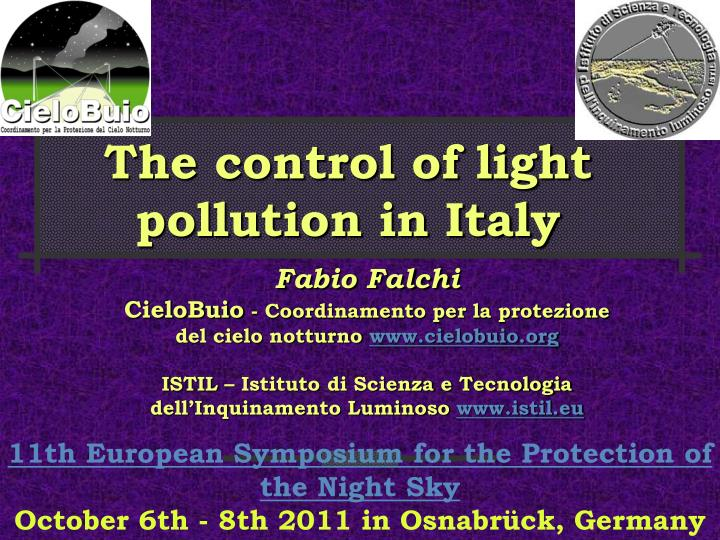 the control of light pollution in italy n.