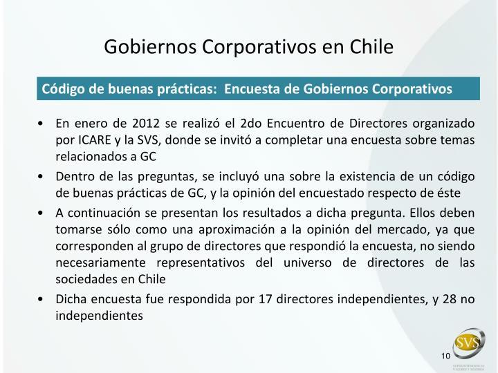 Gobiernos Corporativos en Chile