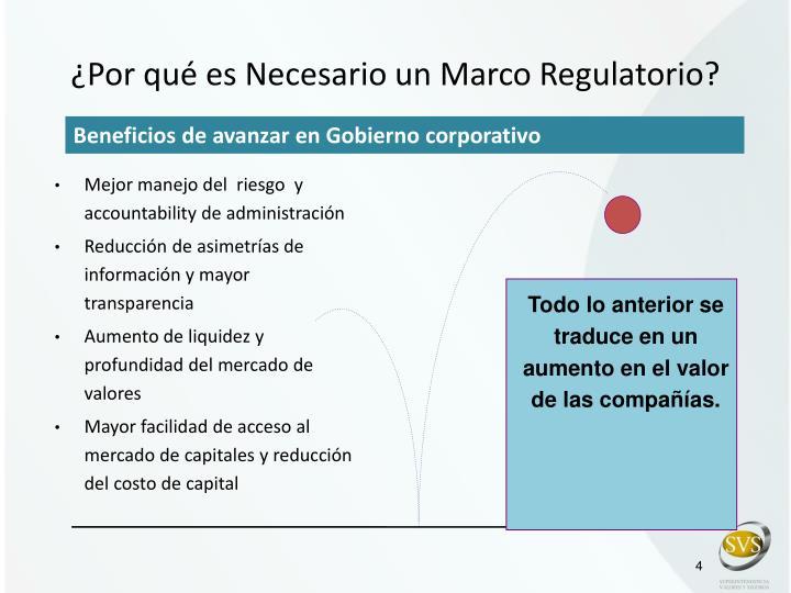 ¿Por qué es Necesario un Marco Regulatorio?