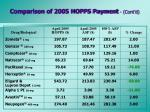 comparison of 2005 hopps payment cont d