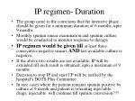 ip regimen duration