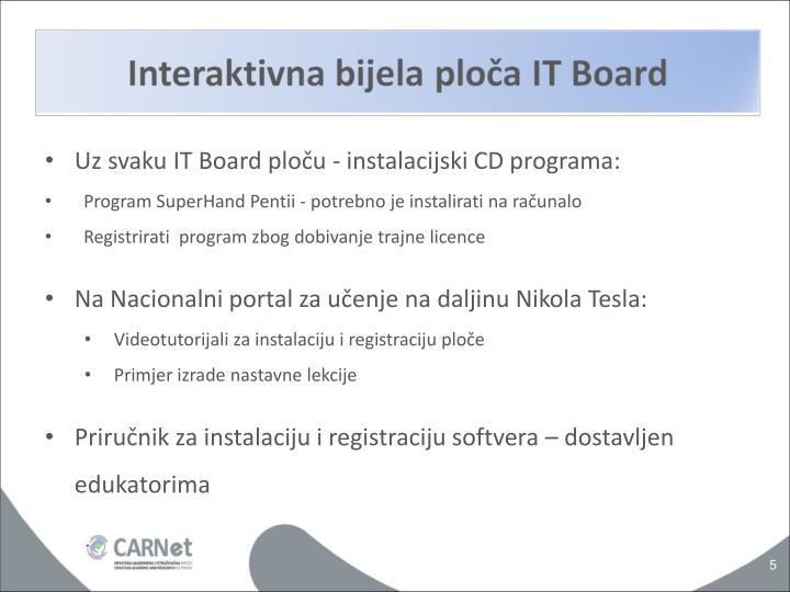 Uz svaku IT Board ploču - instalacijski CD programa: