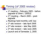 timing of 2005 review