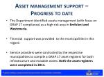 asset management support progress to date