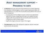 asset management support progress to date1
