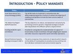 introduction policy mandate