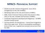 mpacs provincial support