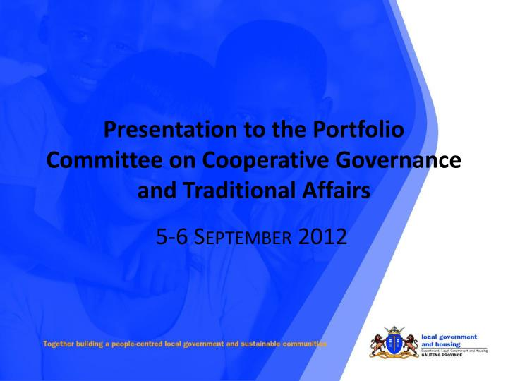 presentation to the portfolio committee on cooperative governance and traditional affairs n.