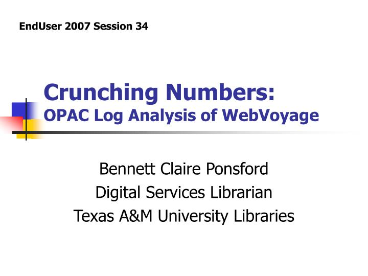 crunching numbers opac log analysis of webvoyage n.