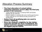 allocation process summary