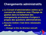 changements administratifs