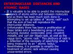 interinuclear distances and atomic radii